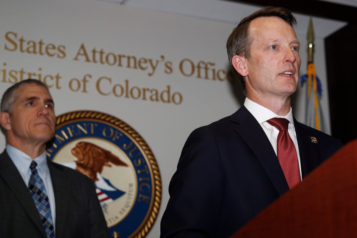 Jason R. Dunn, U.S. Attorney for the District of Colorado, right, makes a point as Dean Phillips, FBI special agent in charge, listens during a news conference in Denver Monday, Nov. 4, 2019, to announce the arrest of a man who repeatedly espoused anti-Semitic views in a plot to bomb a historic Colorado synagogue in Pueblo.