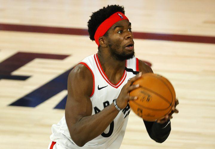 Toronto Raptors' Terence Davis in an NBA basketball game Friday, Aug. 14, 2020, in Lake Buena Vista, Fla.