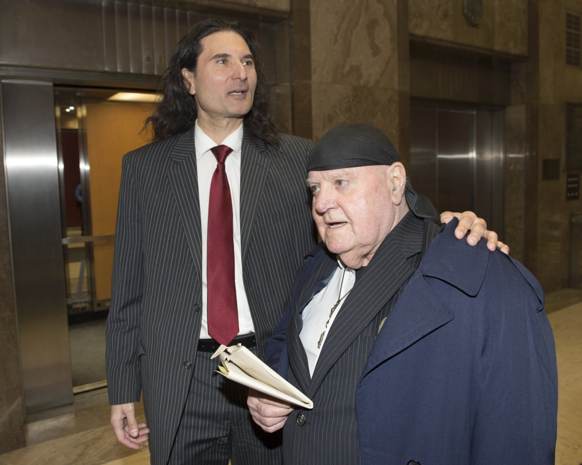 James Sears and LeRoy St. Germaine (right) leave court after being found guilty of promoting hate in Toronto on Thursday January 24, 2019.