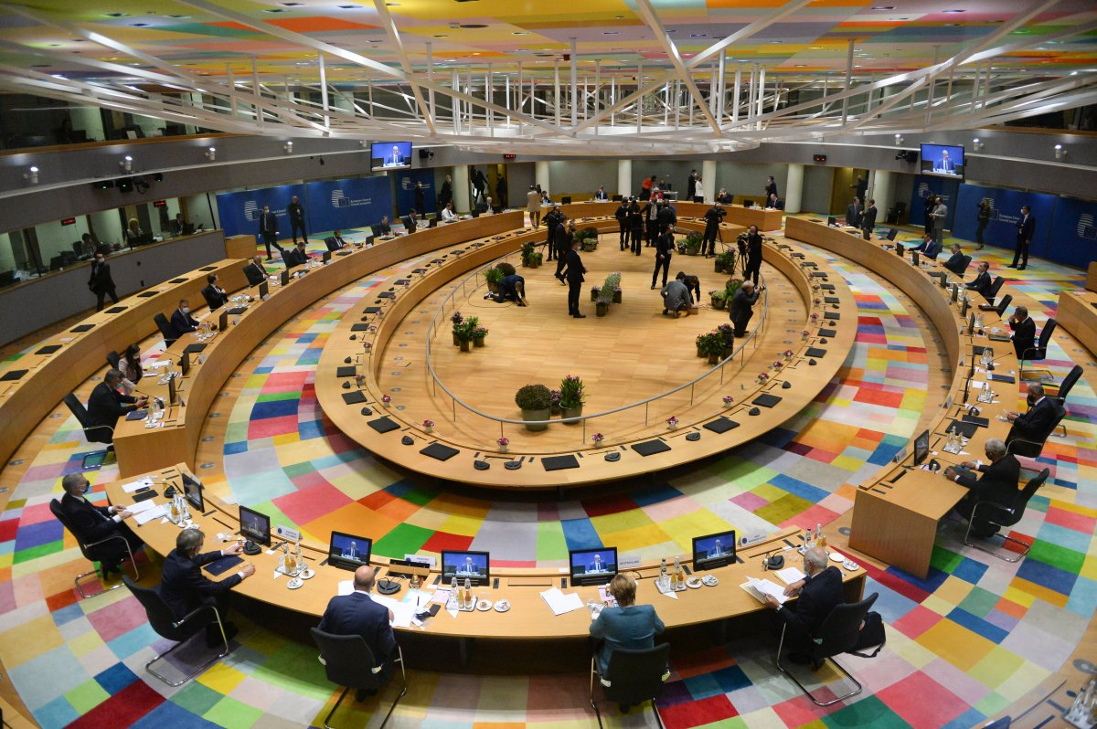 A general view of the round table meeting at an EU summit at the European Council building in Brussels, Thursday, Oct. 1, 2020.