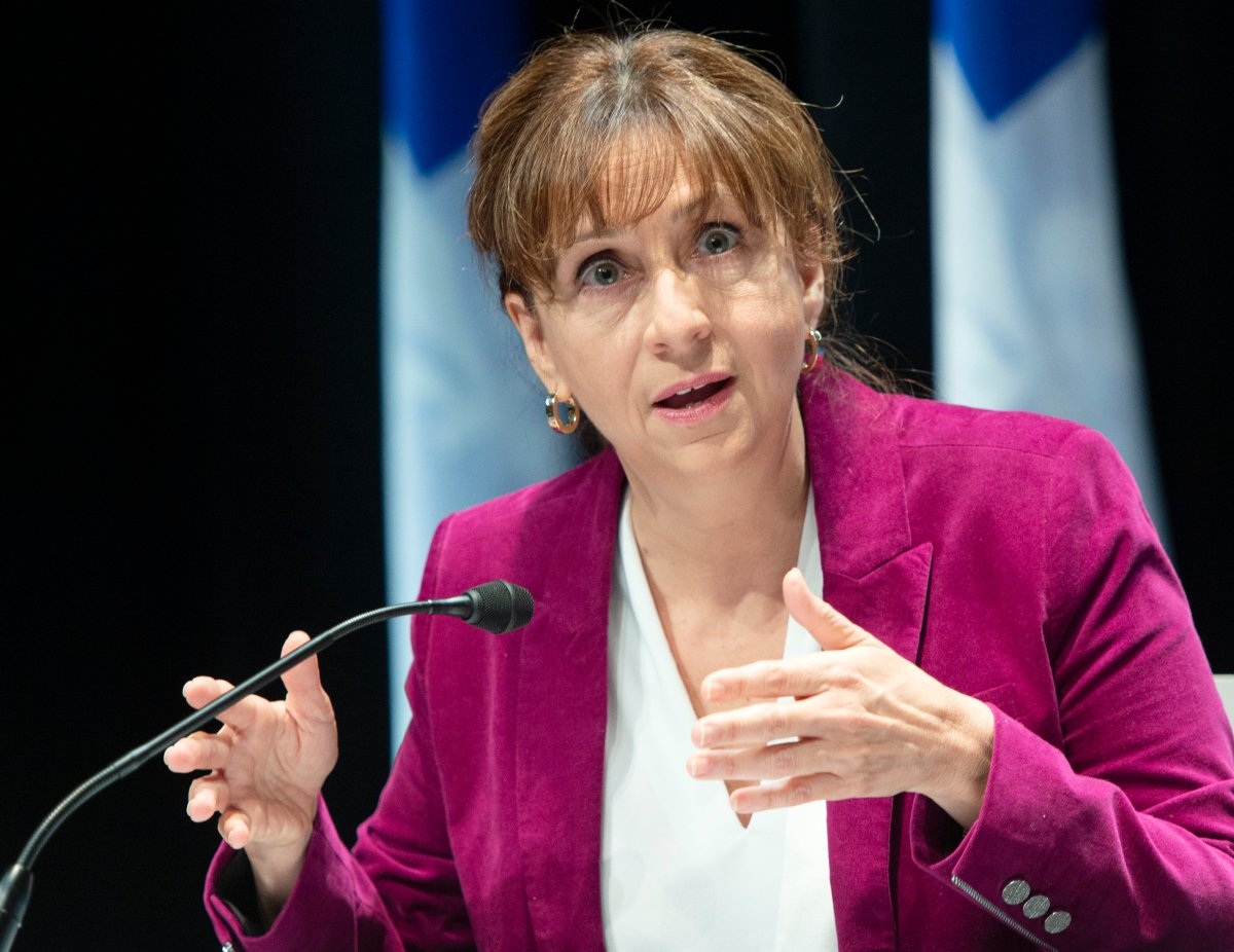 Quebec Culture Minister Nathalie Roy announces financial aid for the entertainment industry during the COVID-19 media briefing, Friday, October 2, 2020  in Montreal.