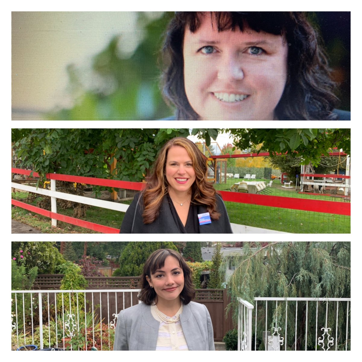 The three candidates running in the Kelowna Mission riding are, from top to bottom, Krystal Smith (NDP), Renee Merrifield (Liberal), and Amanda Poon (Greens).
