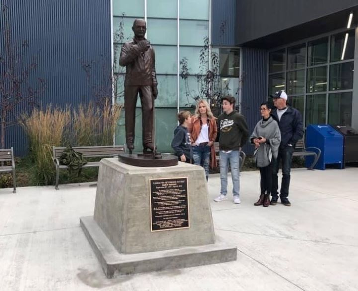 A bronze statue of the late Darcy Haugan was unveiled in Peace River, Alta. Haugan, a junior hockey coach, was one of 16 people who died after the Humboldt Broncos junior hockey team's bus and a semi collided at a crossroads in Saskatchewan on April 6, 2018.