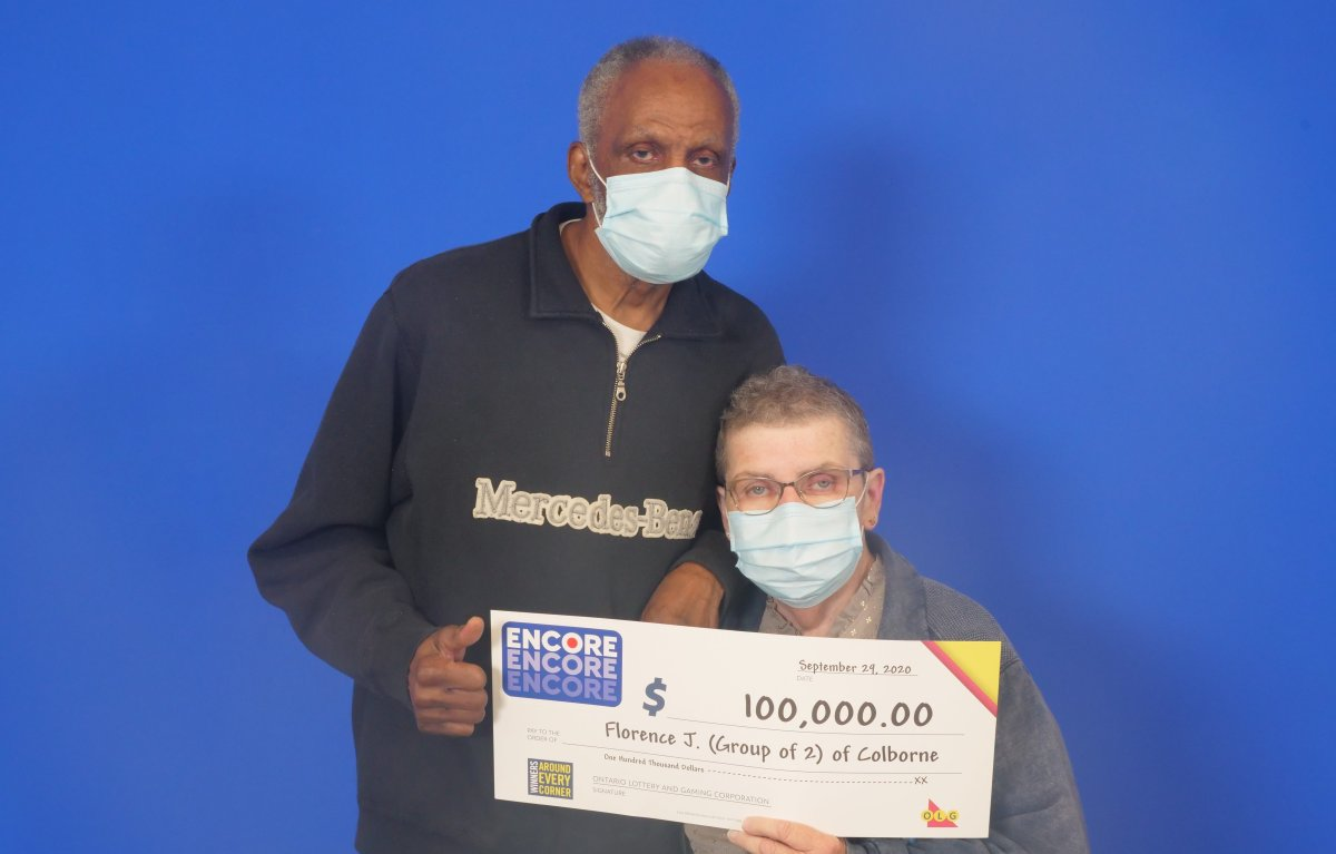 Florence and Gladstone Jackson of Colborne celebrate a $100,000 win in the OLG's Encore draw.