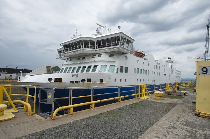 Italian-built ferry F.A. Gauthier is docked for repairs at Davie Shipyard in Levis, Que., Tuesday, July 16, 2019. The ferry has had major troubles since it was purchased to replace a ferry between Matane and Baie-Comeau.