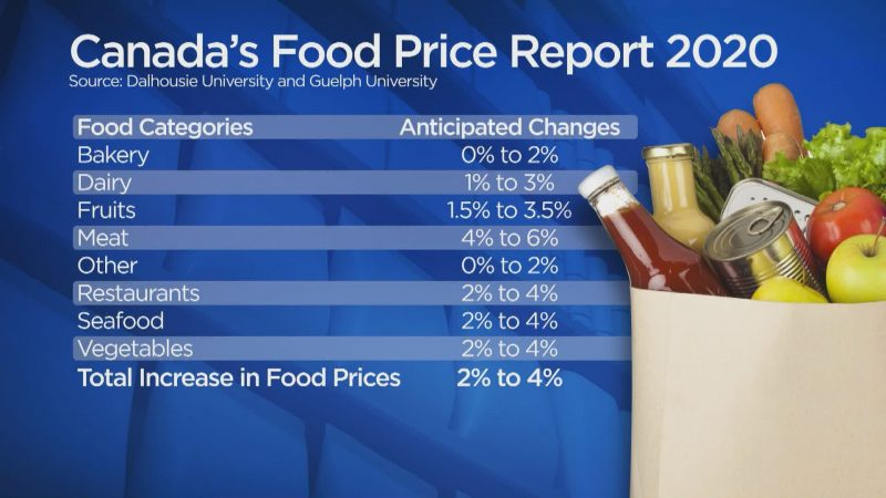 Canada's Food Price Report 2020 showing a prediction of changes in price for major food categories.