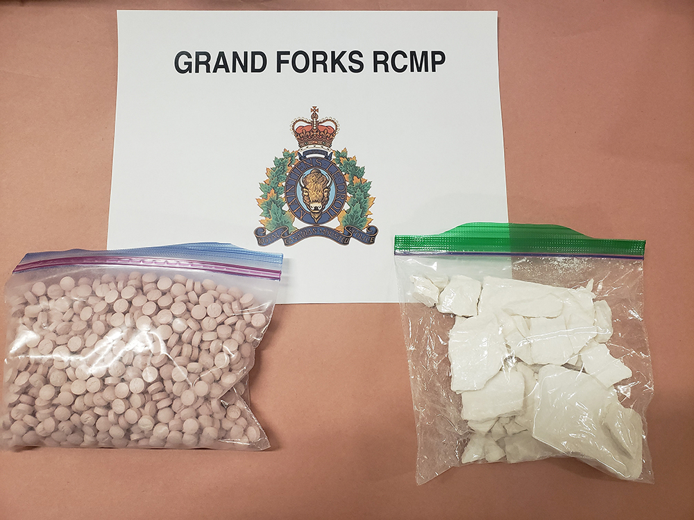 Grand Forks RCMP say after the car was pulled over for being erratically driven, a police dog named Jimmy was called in for suspected drug trafficking. Above are the suspected drugs that were seized.