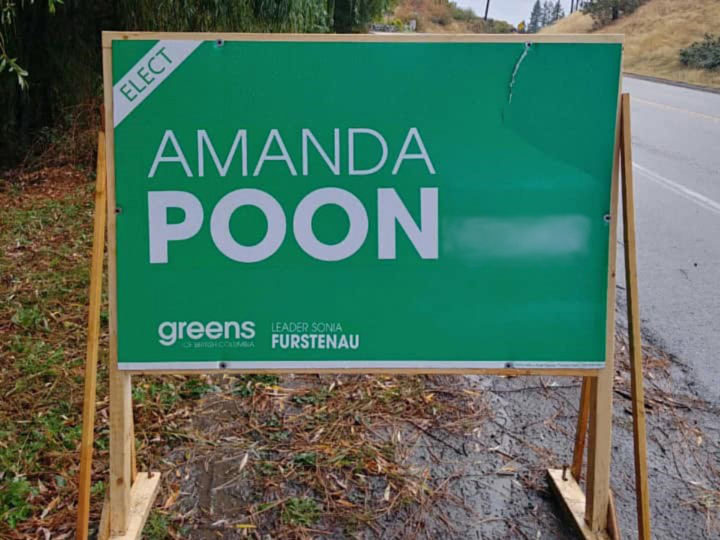 B.C. Green Party candidate Amanda Poon, who is running for election in the riding of Kelowna-Mission, says some of her election signs were recently vandalized, including the one above. The vandalism in this photo has been blurred.