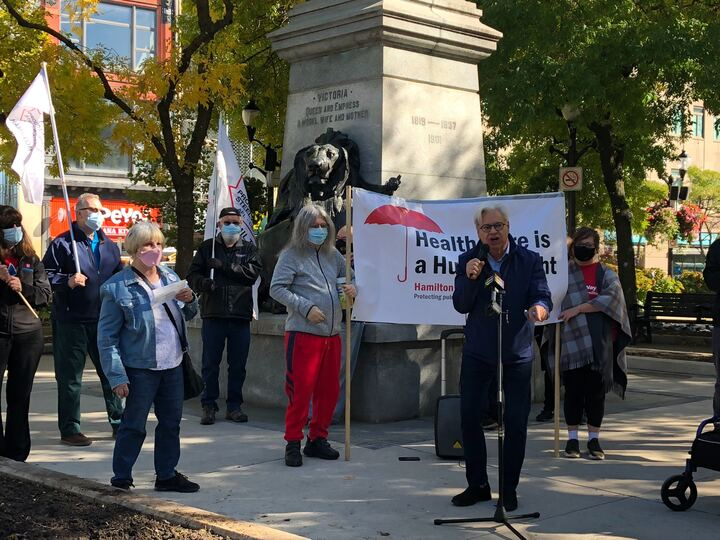 CUPE Ontario president Fred Hahn speaks to supporters during a rally in Hamilton's Gore Park.