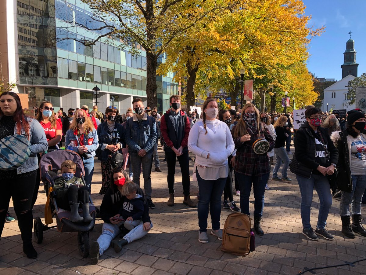 About a thousand people rallied in Halifax's Grand Parade on Oct. 18, 2020, to show their support for Mi'kmaq harvesters exercising their treaty rights on Nova Scotia's southwestern shore.