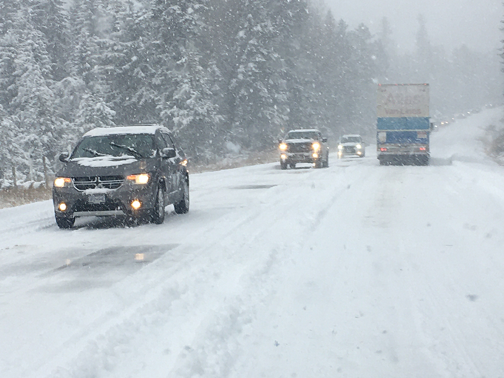 Weather conditions along Highway 33 east of Kelowna on Friday, Oct. 23, 2020.