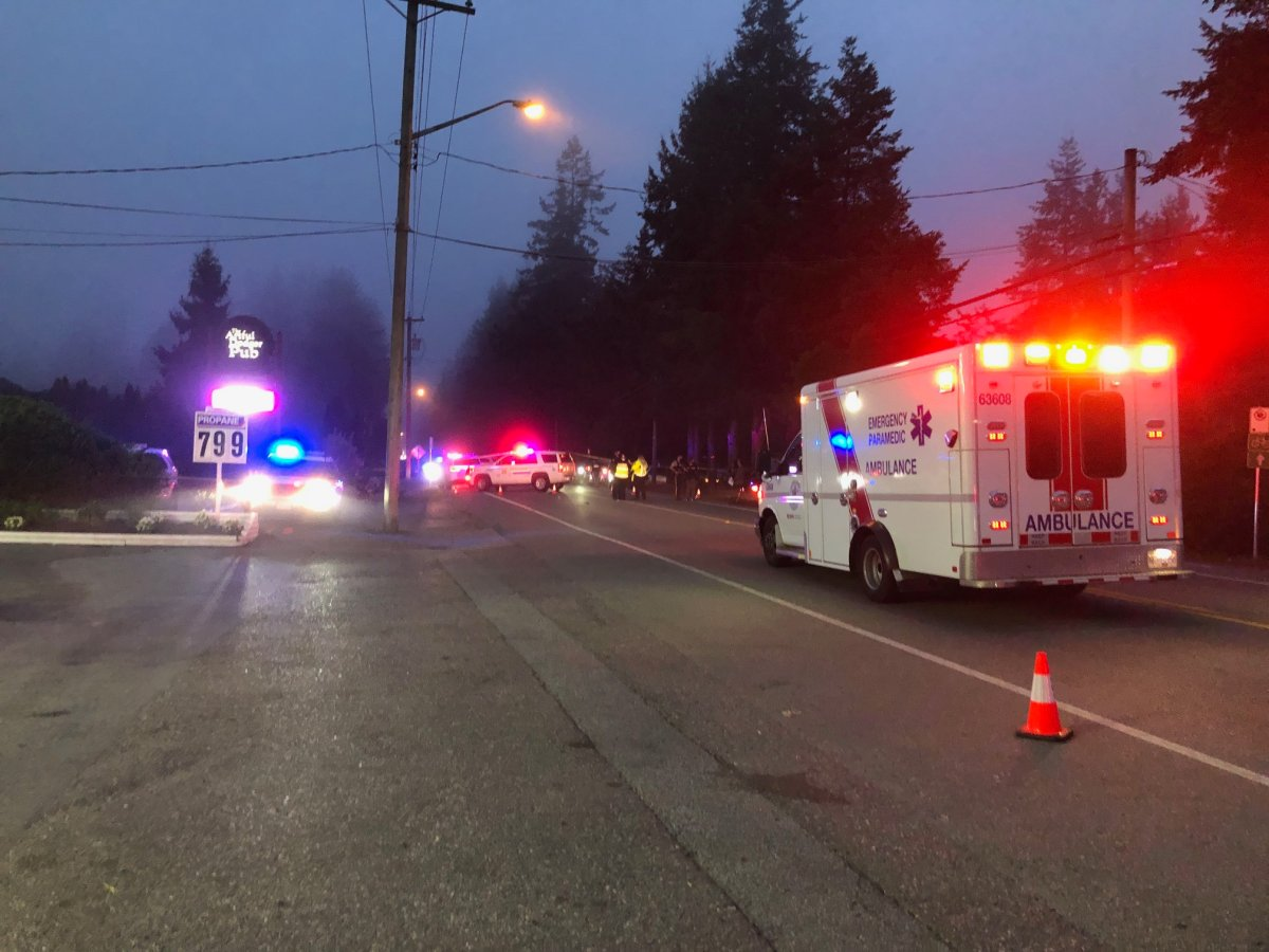 Police and paramedics at the scene of a police-involved shooting in Langley.