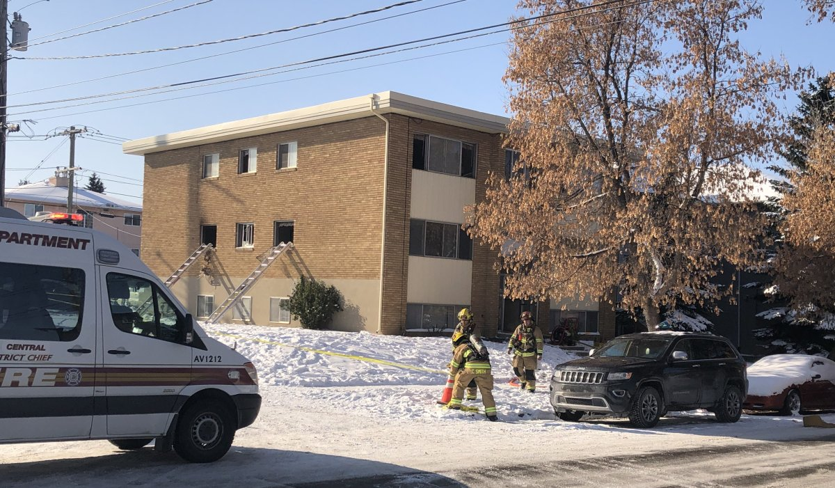 Emergency crews responded to a fire in northwest Calgary on Sunday, Oct. 25, 2020.