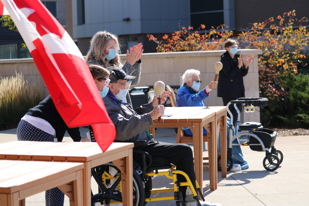 Family and staff at the Parkwood Institute surprised WW2 veteran Charles (Charlie) Jackson with a birthday drive-by to mark his 100th birthday in London, Ont. Oct 17, 2020