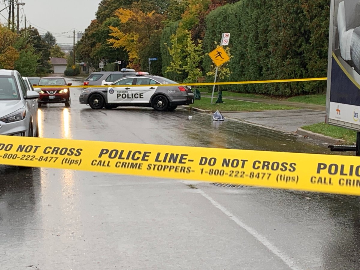The scene of the collision in the area of Bayview and Sheppard avenues on Thursday.
