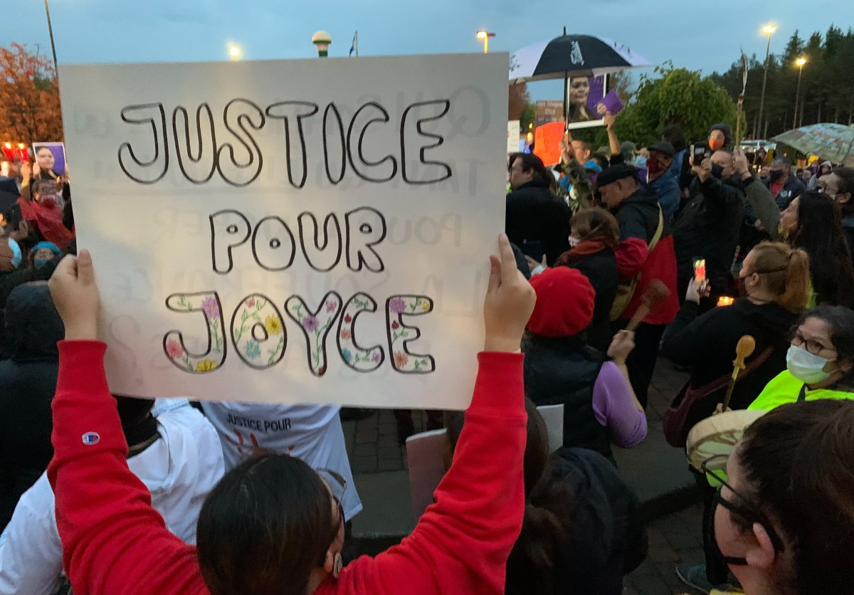 A vigil that took place in memory of Joyce Echaquan in Joliette, QC., on Tuesday, September 29, 2020.