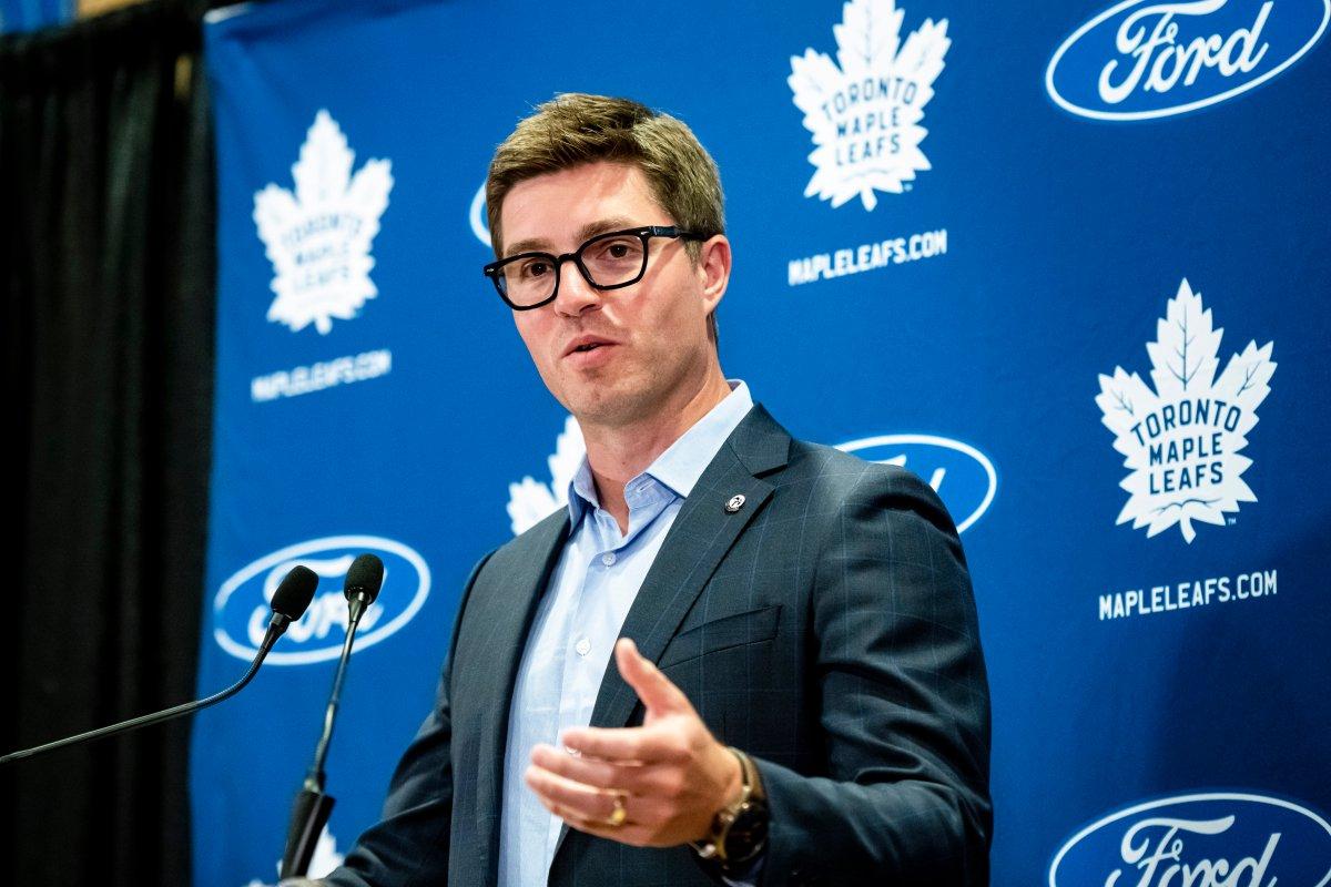 Toronto Maple Leafs general manager Kyle Dubas speaks to the media in Toronto on Thursday, September 12, 2019.