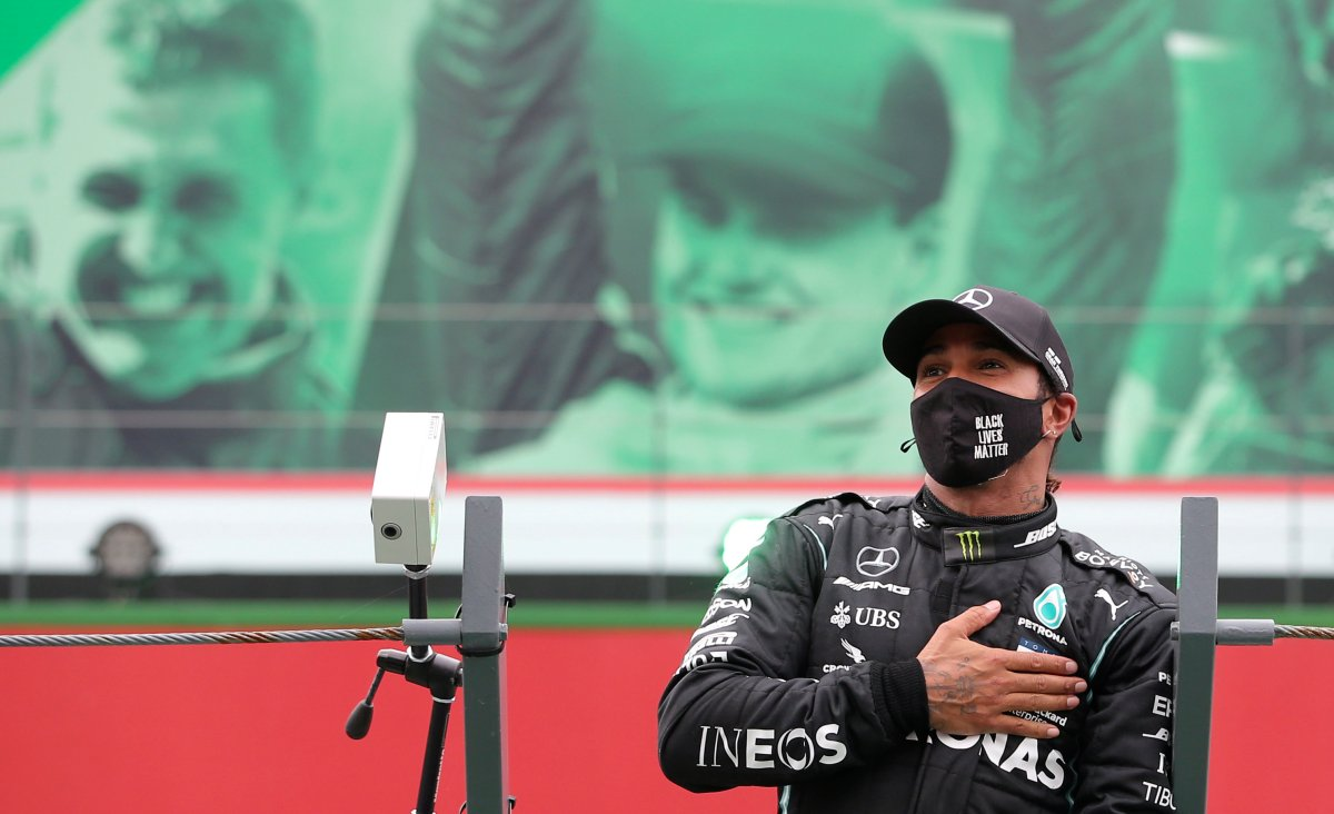 Mercedes driver Lewis Hamilton of Britain after his record breaking 92nd win at the Formula One Portuguese Grand Prix at the Algarve International Circuit in Portimao, Portugal, Sunday, Oct. 25, 2020.