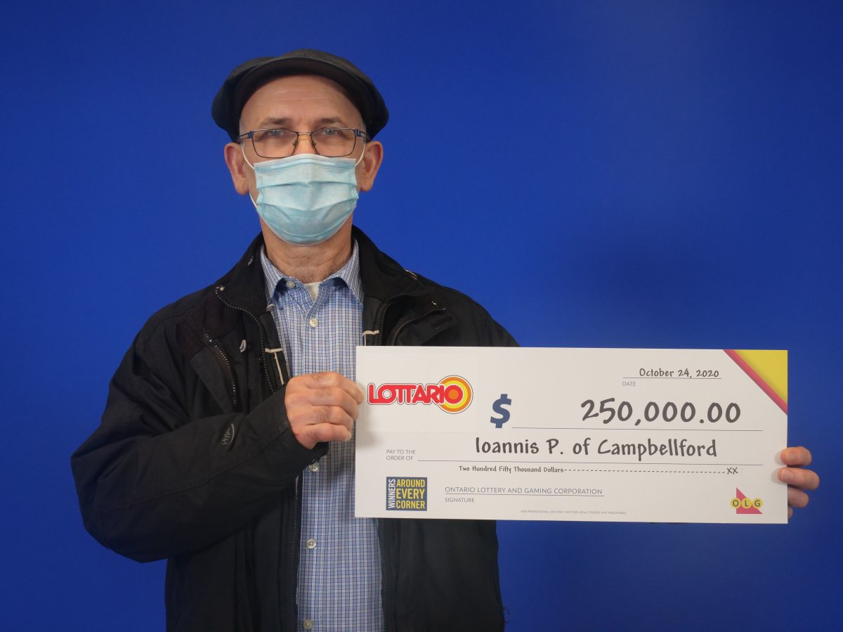 Ioannis (John) Papanikolaou of Campbellford won $250,000 in the June 13, 2020 LOTTARIO draw.