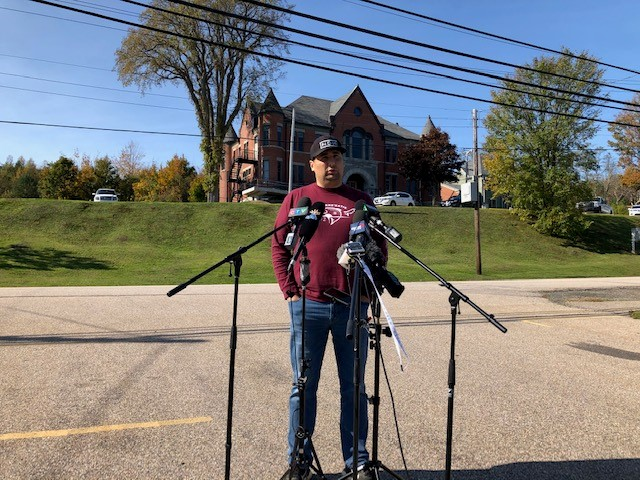 Chief Michael Sack of the Sipekne'katik First Nation addresses the media on Oct. 15, 2020.
