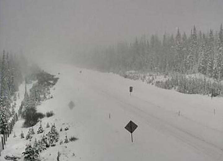 Weather conditions along the Okanagan Connector on Friday morning at 10:30 a.m. The Okanagan Connector has an elevation of 1,717 metres.