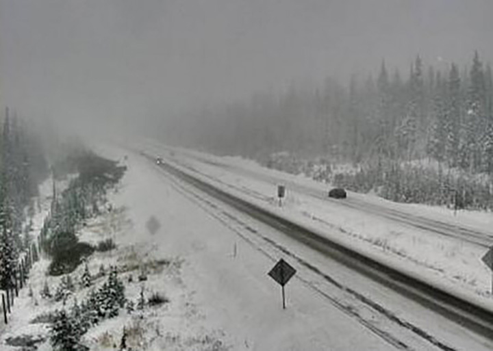 Weather conditions at the Pennask Summit on the Okanagan Connector on Tuesday morning.