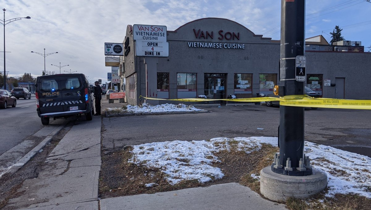 Police responded to a double stabbing in northwest Calgary outside Van Son Vietnamese Cuisine on Saturday, Oct. 17, 2020.