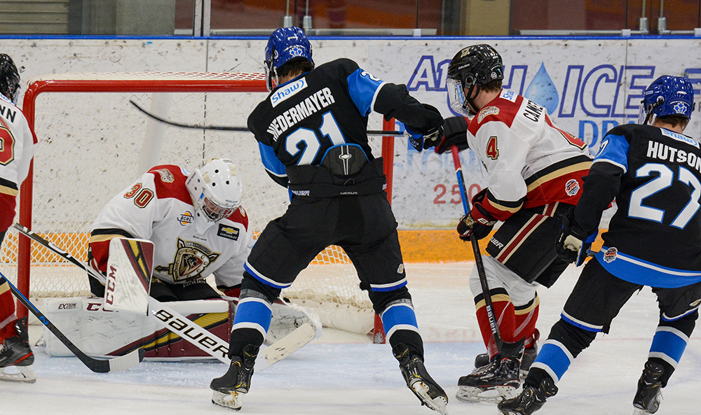 Jackson Niedermayer scored twice for Penticton in the Vees' 7-3 win over West Kelowna in BCHL exhibition action on Friday night.