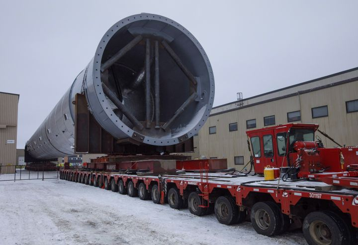 A 820 tonne, 96 metre petrochemical splitter that is going to be moved to Fort Saskatchewan, in Edmonton Alta, on Sunday January 6, 2019. This is the largest load to ever move on Alberta highways.