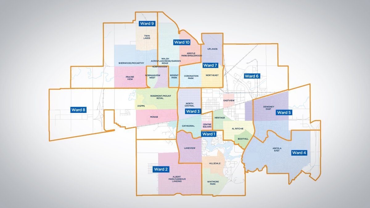 A map of Regina's 10 wards for the 2020 municipal election.