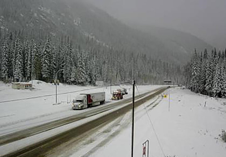 Road conditions at Rogers Pass along the Trans-Canada Highway in B.C., on Friday, Oct. 16, 2020.