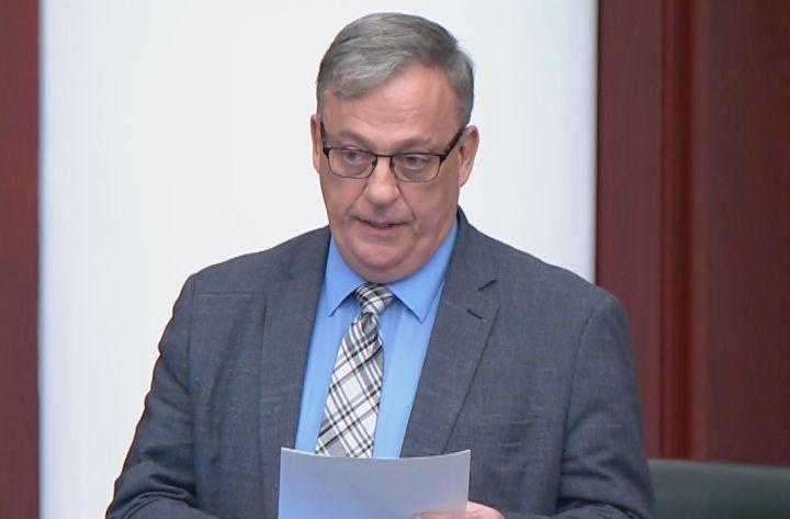 Garth Rowswell, the UCP MLA for Vermilion-Lloydminster-Wainwright, speaks in the Alberta legislature on Oct. 28, 2020.