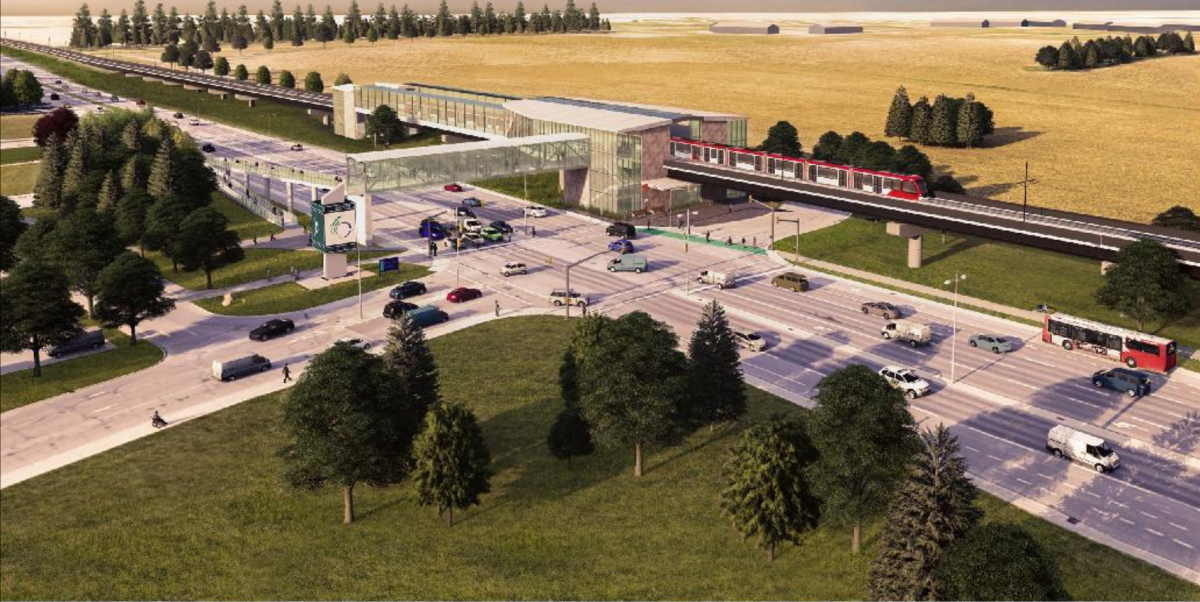 A rendering of the possible LRT station at Nepean Sportsplex as part of a proposed extension to Ottawa's light-rail transit system.