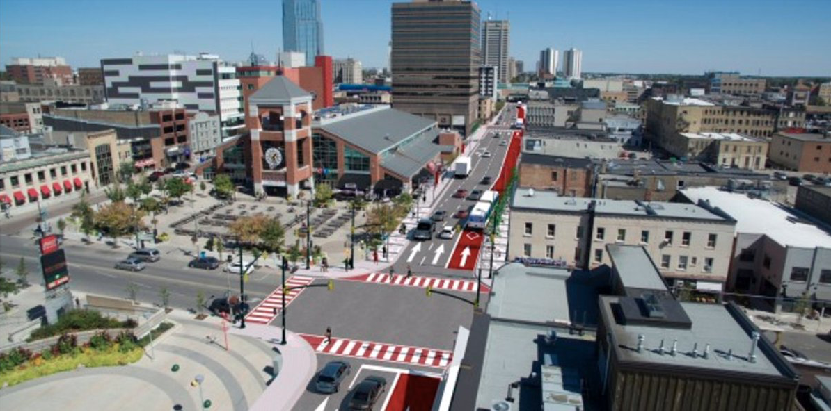 A 2020 rendering of the bus rapid transit system on the Downtown Loop will frame Dundas Place and run buses along Queens Avenue, Ridout Street, King Street, and Wellington Street.