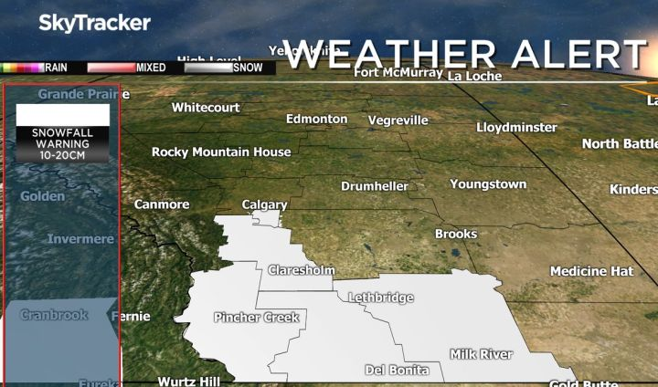 Snowfall warnings were issued for a number of areas in southern Alberta on Friday.