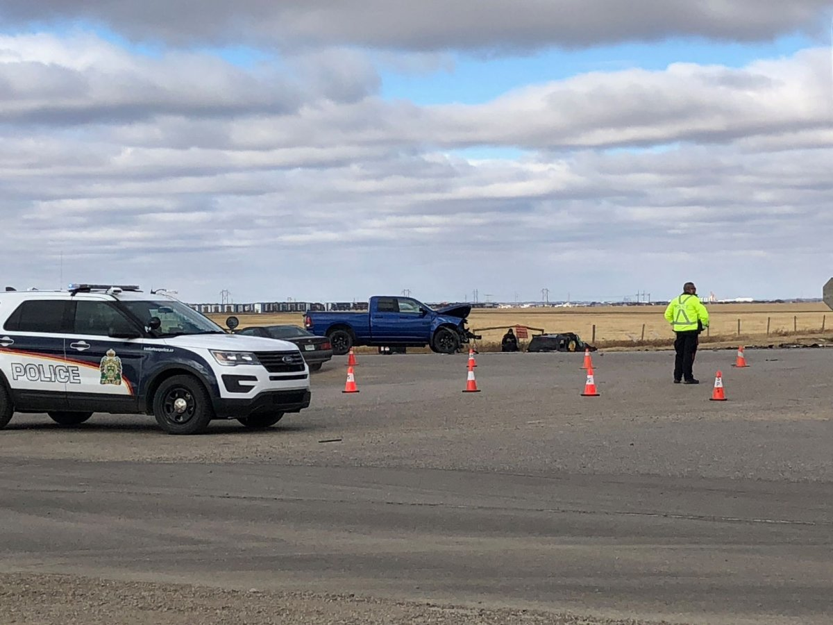 A woman was taken to the hospital following a two-vehicle collision Saturday at the intersection of Highway 5 and Highway 41 say Saskatoon police.