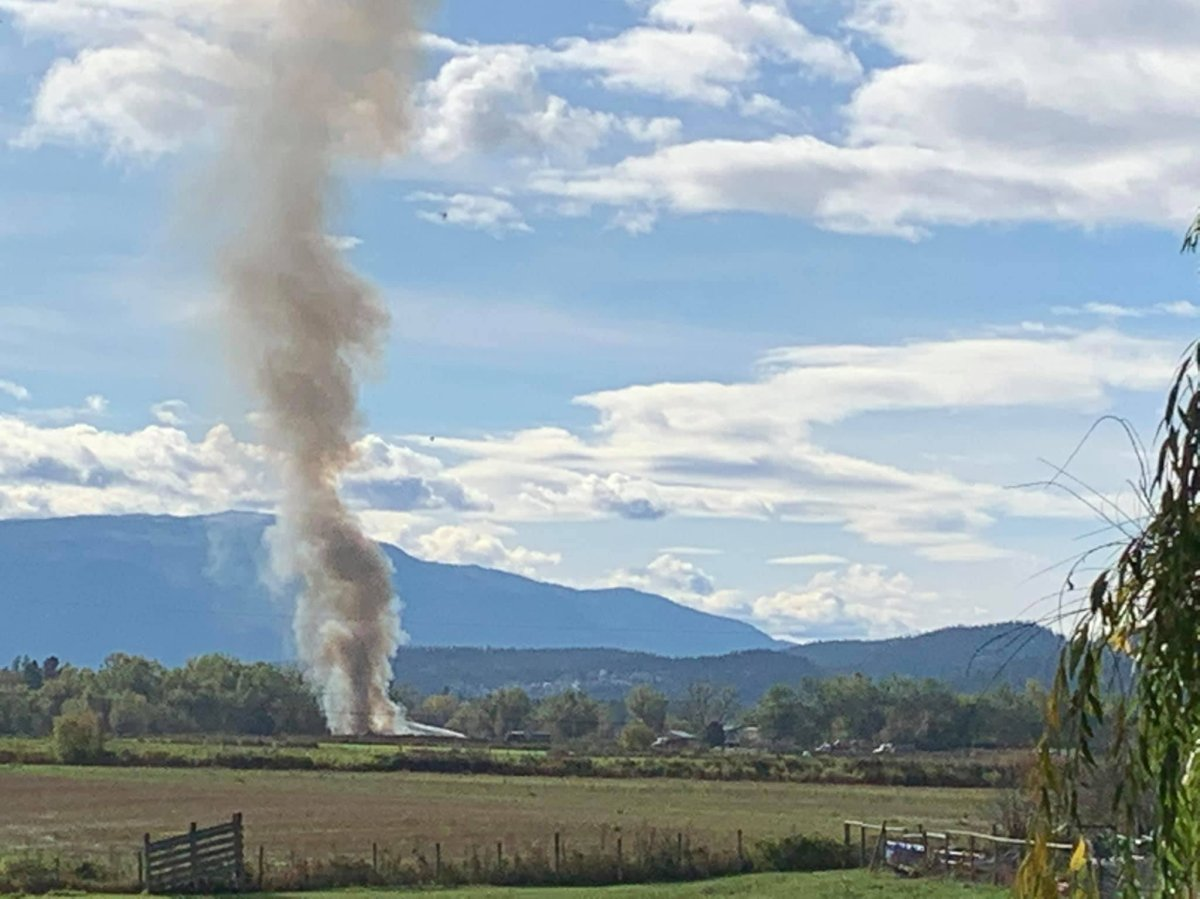 A large plume of smoke was visible in the Enderby area Sunday morning. The fire department said two RVs were destroyed by fire.