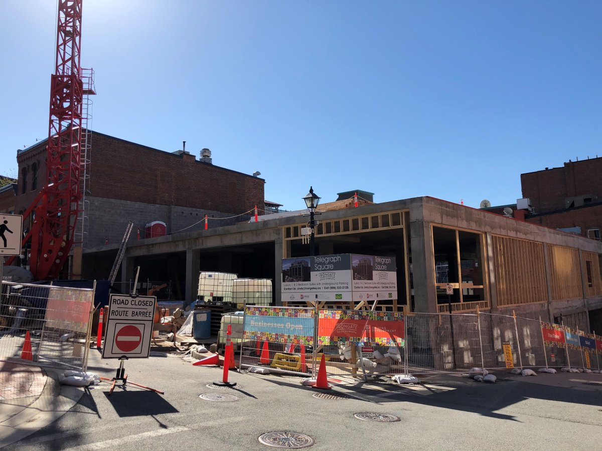 A new residential complex under construction in uptown Saint John, N.B., at the corner of Canterbury St. and Grannan St.