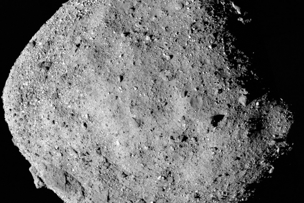 This mosaic image of asteroid Bennu is composed of 12 PolyCam images collected on Dec. 2, 2018 by the OSIRIS-REx spacecraft.