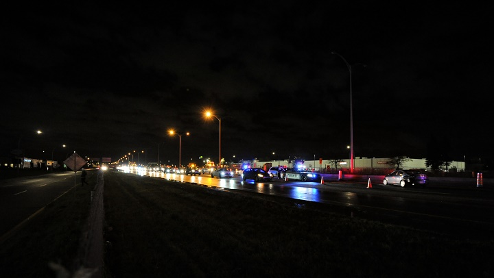 Three people were arrested following a crash on Highway 40 in Montreal. Wednesday, Oct. 21, 2020.