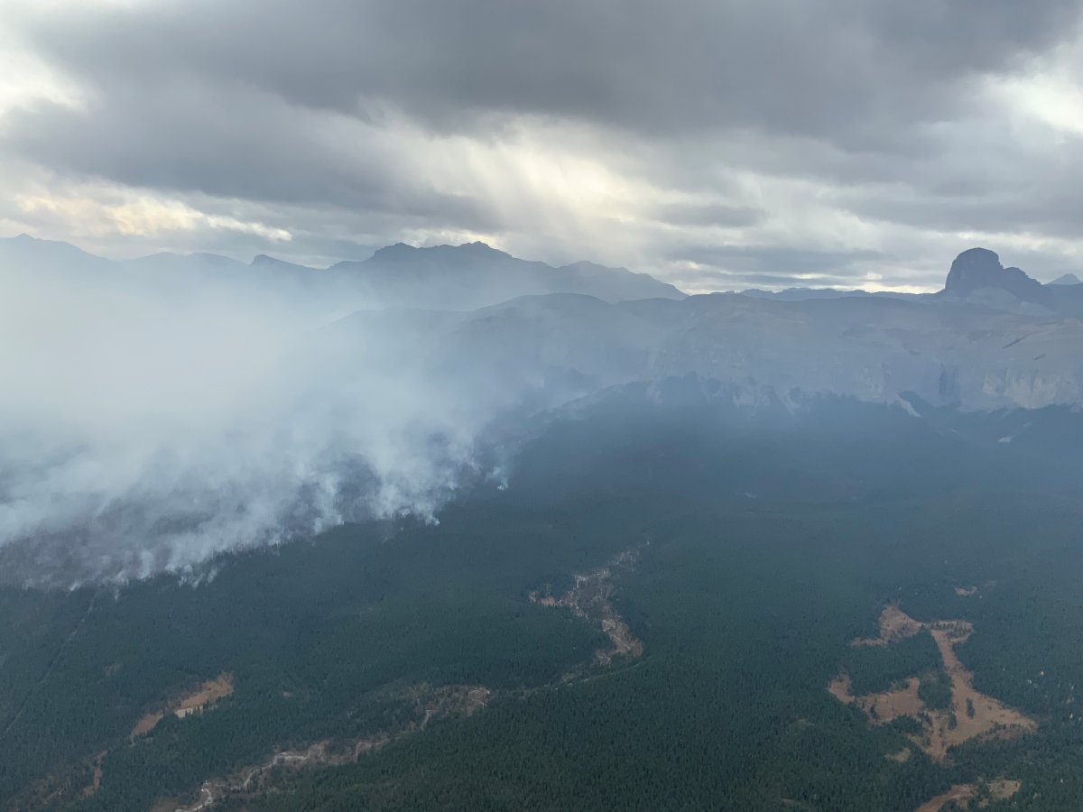 The Devil's Head wildfire west of Calgary pictured Tuesday, Oct. 6, 2020 remained out of control Wednesday, Oct. 7, 2020.