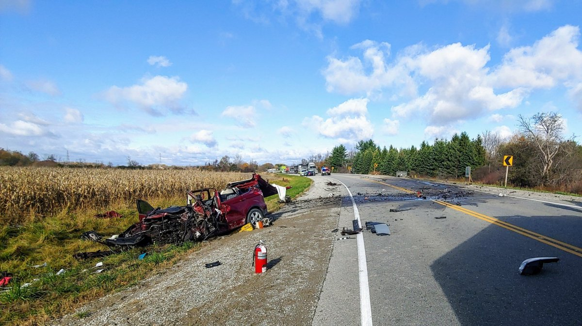 Provincial police say the crash involved a dump truck and a car.