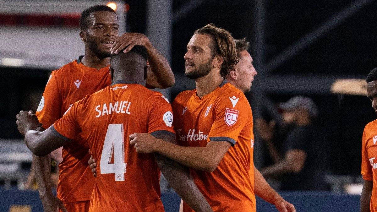Hamilton Forge FC players celebrate their win over CD Olimpia's during Scotiabank CONCACAF League 2019 action in Hamilton on Thursday, August 22, 2019. THE CANADIAN PRESS/Peter Power.