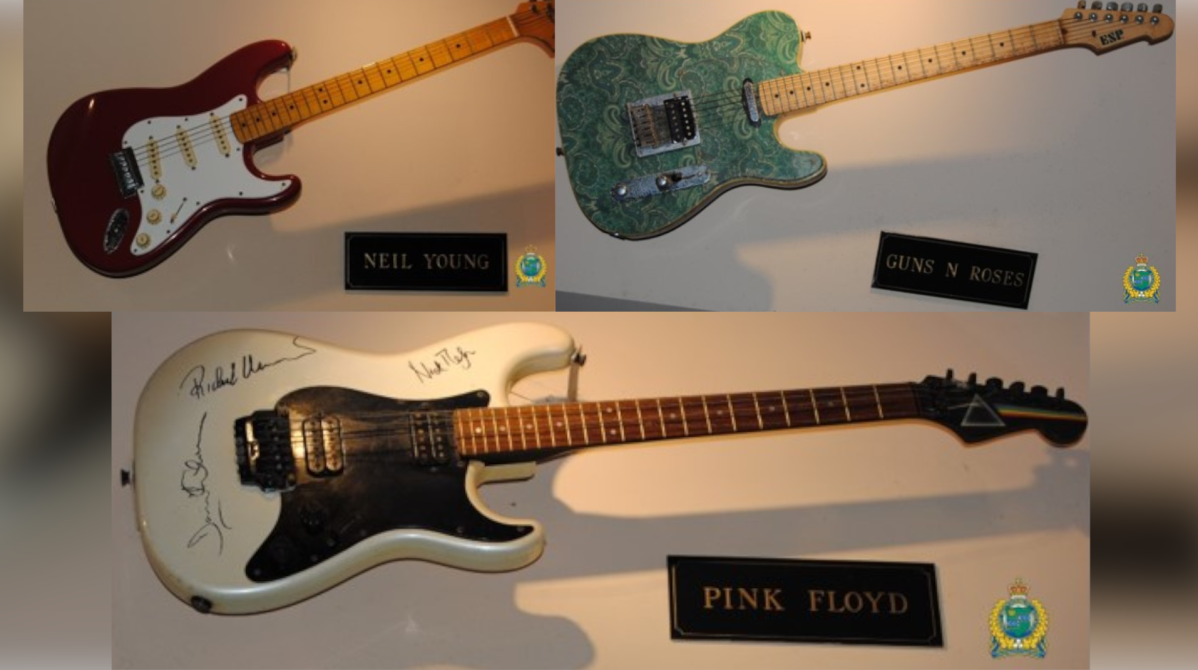 Police say three autograph guitars were stolen from the Hard Rock Cafe in Niagara Falls on Tuesday Oct. 21, 2020.