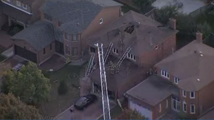 The scene of the blaze on Dalewood Drive in Mississauga.