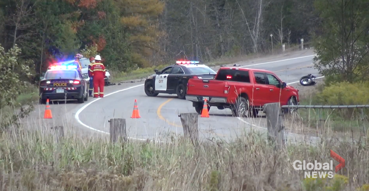 A motorcyclist died following a two-vehicle collision on County Road 507 in Trent Lakes on Oct. 10, 2020.