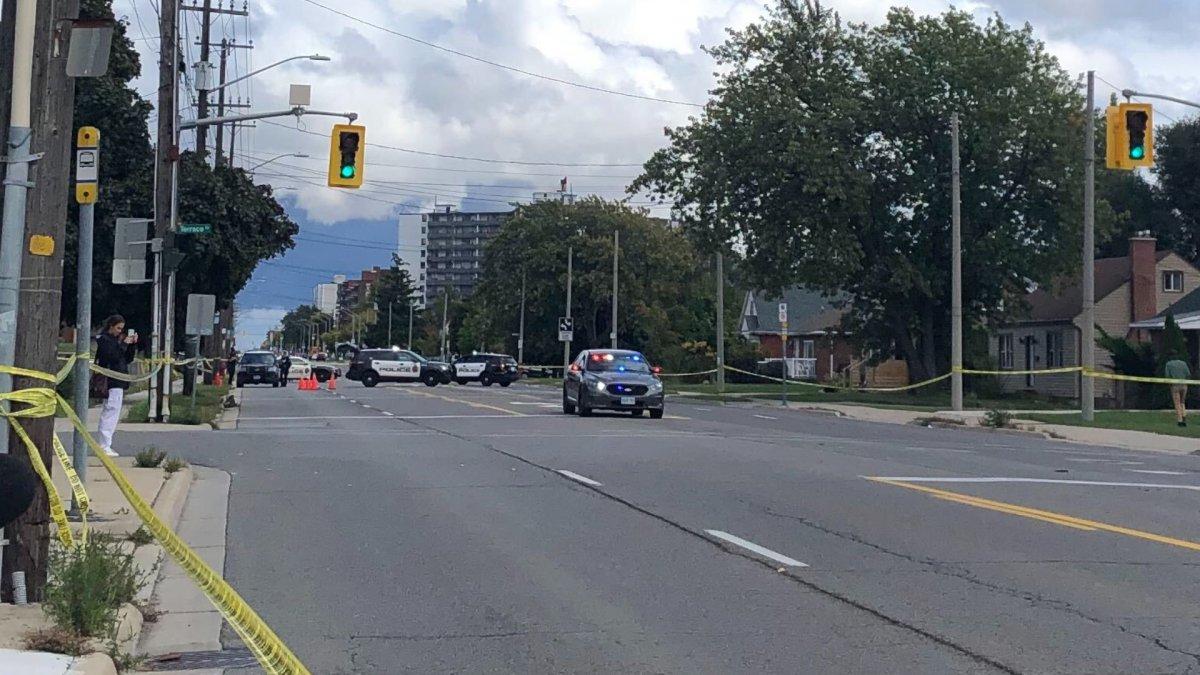 Hamilton police on scene following a shooting on Mohawk Road East near Upper James Street Friday October 2, 2020.