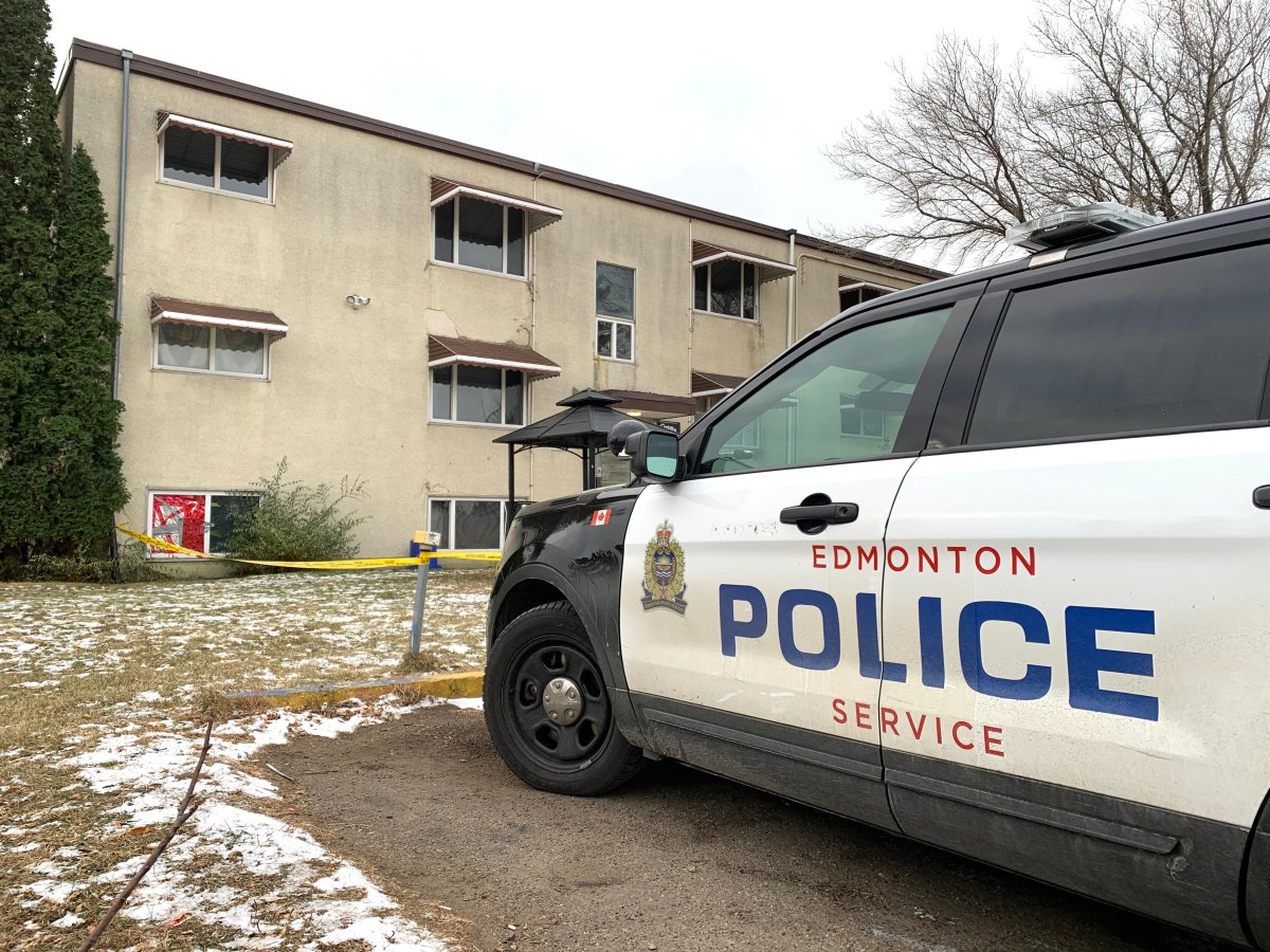 Edmonton police investigate in the area of 91 Street and 127 Avenue Friday, Oct. 23, 2020.