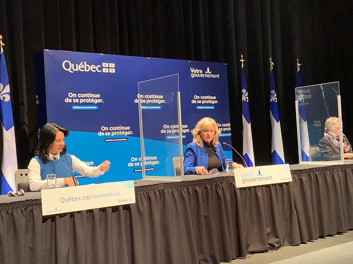 Montreal Mayor Valérie Plante (left), Municipal affairs minister Andrée Laforest (centre) and the minister responsible for Montreal, Chantal Rouleau (right) announce $263 million for the city of Montreal deal with the financial losses brought on by the pandemic. Tuesday, Oct. 13, 2020.