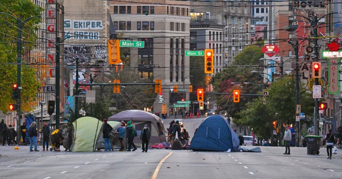 Protesters erected tents in the intersection of Main and Hastings streets Wednesday, and vowed to occupy the street overnight.